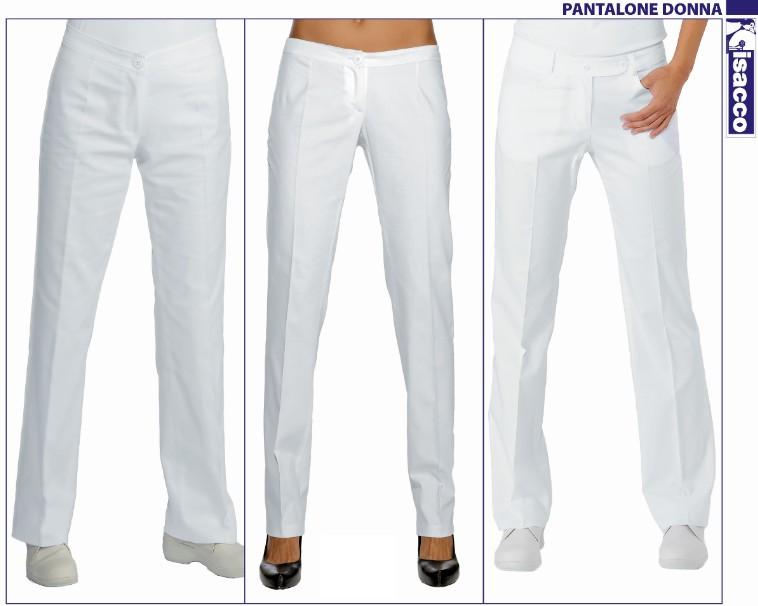 Pantaloni Donna Bianchi 100 Cotone Abbigliamento Da Lavoro Abiti
